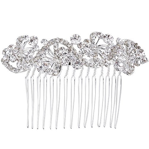 BriLove Wedding Hair Accessories Wedding Hair Comb Bohemian Crystal Charming Wave Shape Flower Bride Side Comb for Women Silver-Tone (Silver Unique Shape Clip)