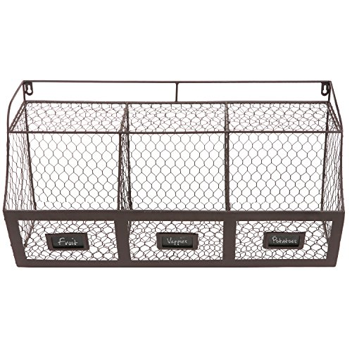 large rustic brown metal wire wall mounted hanging fruit basket storage new ebay. Black Bedroom Furniture Sets. Home Design Ideas