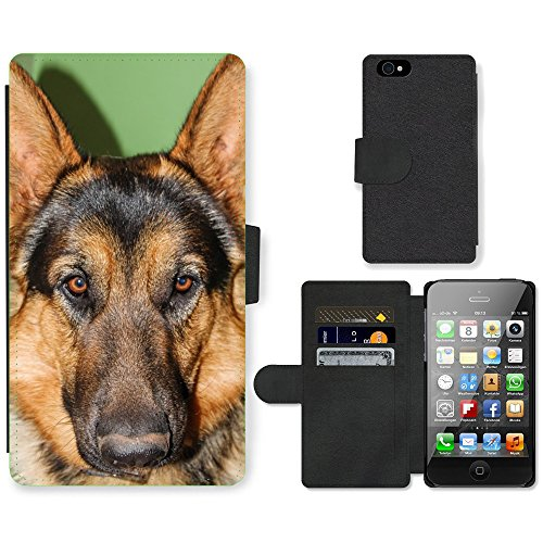 Just Phone Cases PU Leather Flip Custodia Protettiva Case Cover per // M00128040 Berger Allemand Animaux // Apple iPhone 4 4S 4G