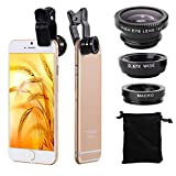 XCSOURCE® Clip 180 Degree Fish Eye Lens + Wide Angle + Micro Lens Kit for iPhone 4 4S 4G 5 5G 5S Samsung Galaxy S3 i9300 S4 i9500 cell phone (Black) DC264B