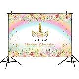 Mehofoto Unicorn Photography Backdrop Flower Rainbow Happy Birthday Background 7x5ft Glitter Star Baby Kids Birthday Party Vinyl Backdrops