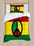 Ambesonne Jamaican Duvet Cover Set Twin Size, Reggae Culture Peace Symbol Caribbean Country Flag Design Americas Rasta Culture, Decorative 2 Piece Bedding Set with 1 Pillow Sham, Multicolor