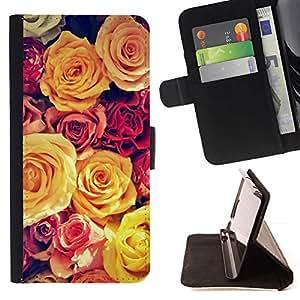 Momo Phone Case / Flip Funda de Cuero Case Cover - Viñeta amarillo Bouquet Spring Love - Huawei Ascend P8 (Not for P8 Lite)