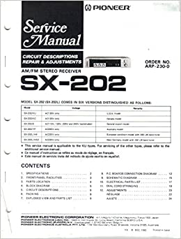 Pioneer sx 202 sx 202l am fm stereo receiver service manual pioneer sx 202 sx 202l am fm stereo receiver service manual parts list schematic wiring diagram pioneer electronic corp not stated amazon books asfbconference2016 Images