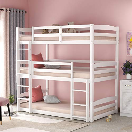Merax-Solid-Wood-Twin-Bunk-Triple-Bed-with-Ladder-for-Kids-and-Teens-Separable-No-Box-Spring-Needed-White