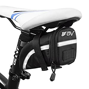 BV Bicycle Strap-On Saddle Bag, Inside Mesh Pocket Bike Seat Bag