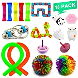 NANAHouse Sensory Fidget Toys Bundle Increase Focus Relieves Stress Fidget Toys Set - Fidget Chain, Monkey Stringy Balls, Wacky Tracks Snap, Squishies Toy For Kids & Adults With ADHD Autism Anxiety