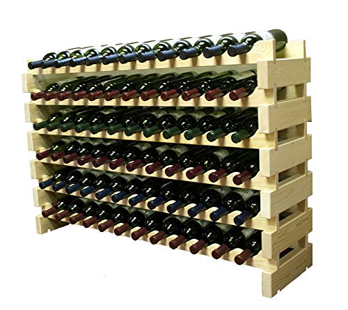 Stackable Modular Wine Rack Stackable Storage Stand Display Shelves, Wobble-Free, THICKER wood, Wobble-Free, (72 Bottle Capacity, 6 rows x ()
