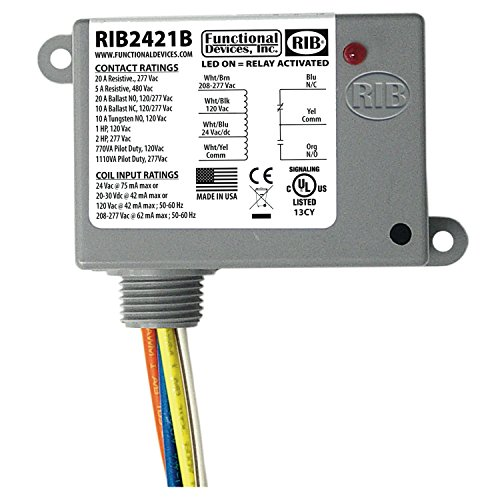 Enclosed Relay - FUNCTIONAL DEVICES RIB2421B ENCLOSED RELAY 24V AC/DC 120/277VAC 20 AMP