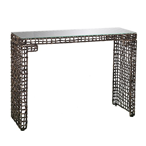 Woven Seagrass Console Table - Sturdy Iron Frame w/ Glass Table Top - Coastal Style