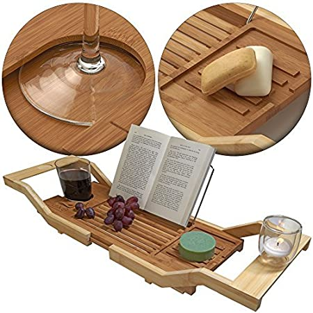 Luxe Bamboo Bathtub Caddy Tray with Book Reading Rack, Wine Glass Holder and Extending Sides
