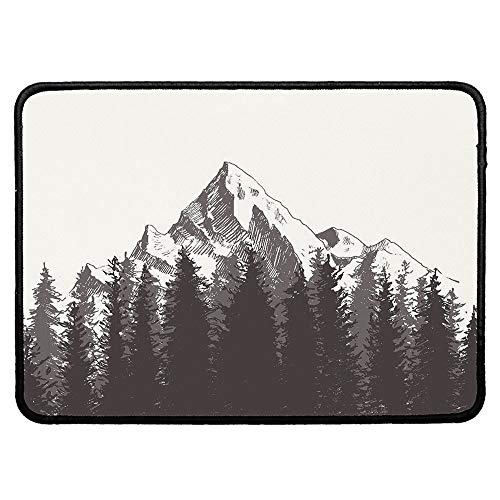 Primitive Non Slip Mouse Pad,Mountain with Fir Forest and Native American Arrow Figure Folk Style Retro Print for Laptop Computer & PC,9.84''Wx11.81''Lx0.12''H
