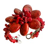 AeraVida Beautiful Handmade Reconstructed Red Coral Floral Beaded Organic Cuff Bracelet