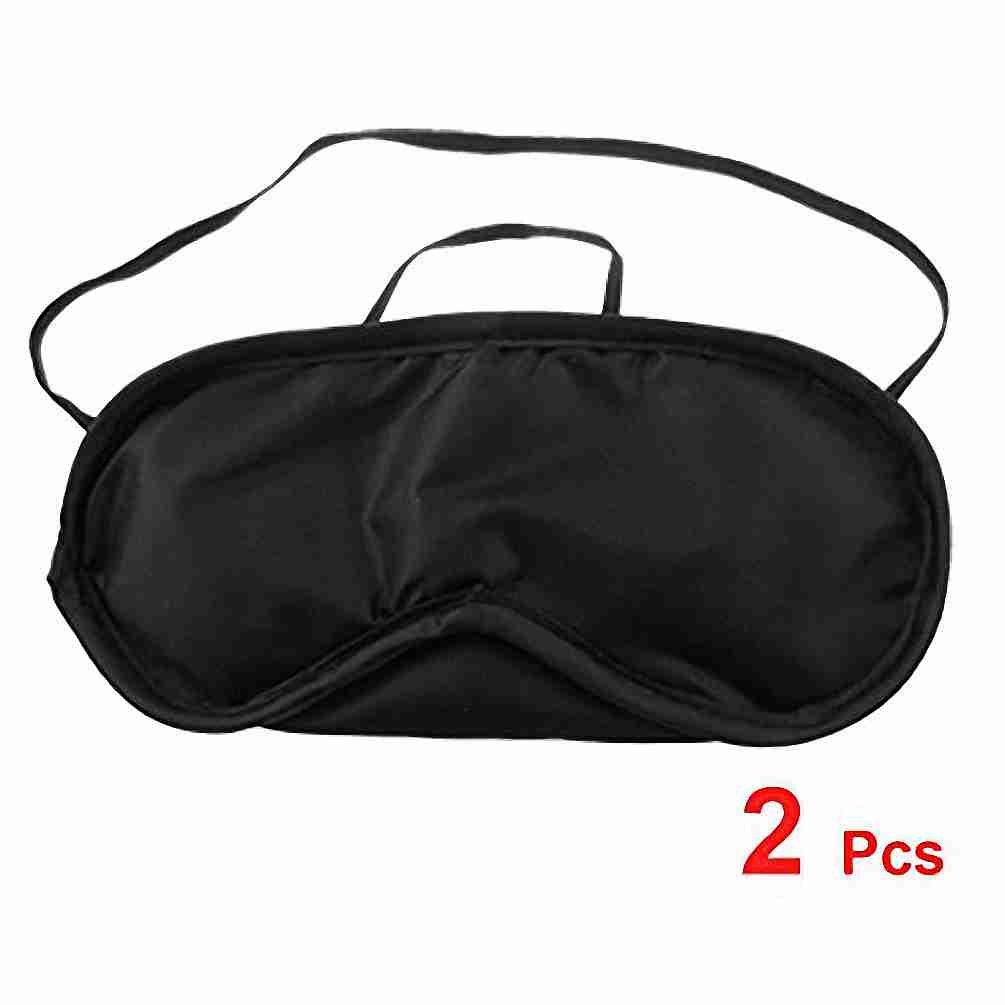 TOOGOO(R) 2 x Travel Built-in Sponge Black Elastic Strap Sleeping Mask Eye Shade