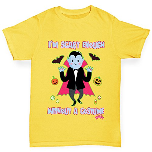 Twisted Envy Boy's Scary Enough Without A Costume Organic Cotton Yellow T-Shirt Age 12-14 (Dracula Child Costume)
