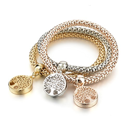(Long Way 3Pcs Gold Silver Rose Gold Plated Charm Bracelet for Women Stretch Crystal Multilayer Bracelet )