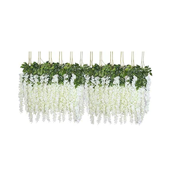 U'Artlines 24 Pack 3.6 Feet/Piece Artificial Fake Wisteria Vine Ratta Hanging Garland Silk Flowers String Home Party Wedding Decor (24, White)