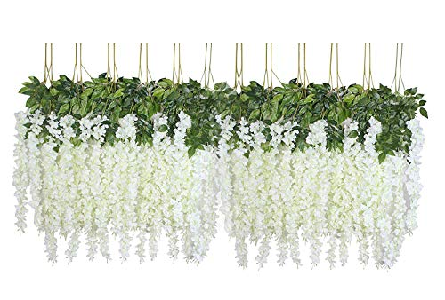U'Artlines 24 Pack 3.6 Feet/Piece Artificial Fake Wisteria Vine Ratta Hanging Garland Silk Flowers String Home Party Wedding Decor (24, -
