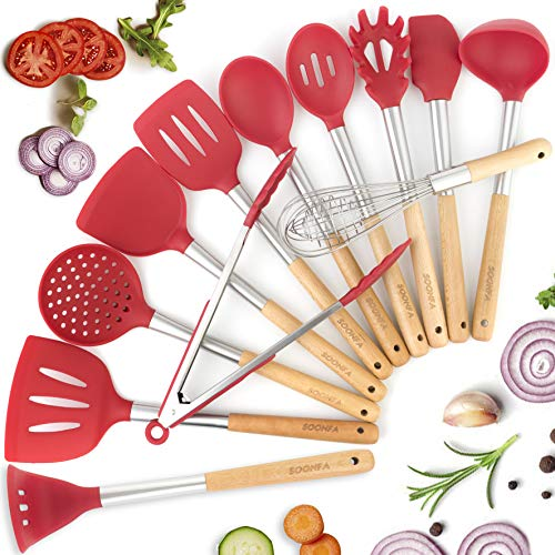 Silicone Cooking Kitchen Utensils Set 12 pcs, Wooden & Stainless Steel Handles Home Kithcen Cooking Spatula Tool kit BPA Free - Kitchen Gadgets Utensil Set for Nonstick Cookware