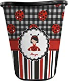 RNK Shops Ladybugs & Stripes Waste Basket - Double Sided (Black) (Personalized)