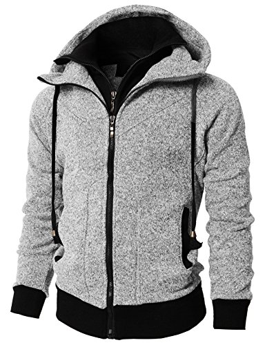 H2H Mens Active Casual Fleece Lining Double Zip Pullover Hoodie Jacket Gray US XL/Asia 2XL (KMOHOL0128)