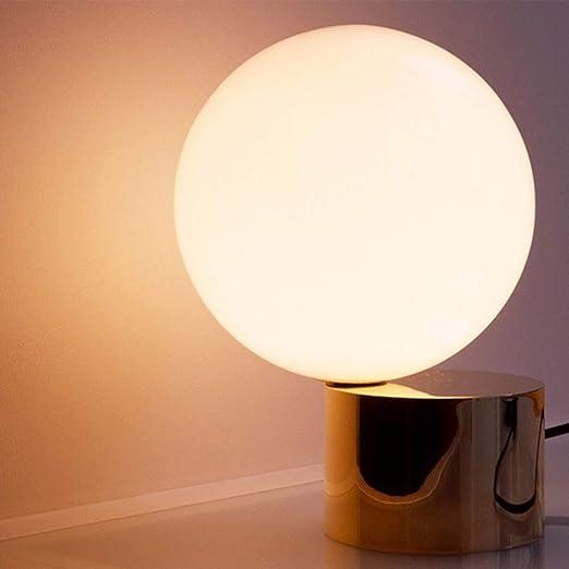 Lámpara de mesa de vidrio simple, LED de hierro forjado Bola ...