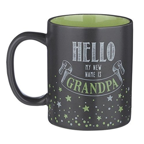 12-Ounce Mug - Hello My NEW Name Is Grandpa - Black and Green Ceramic with Gift Box