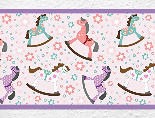 (I-love-Wandtattoo b-10043 Nursery Wall Decal Border Rocking horse Wallpaper Stripes Girl kids decoration)