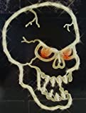 "16"" Lighted Halloween Spooky Skull Window Silhouette Decoration"