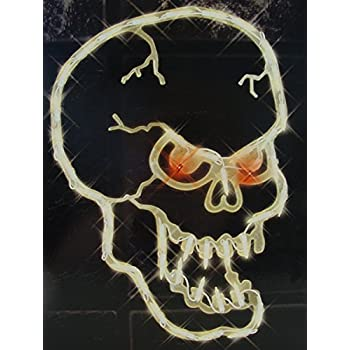 16 lighted halloween spooky skull window silhouette decoration