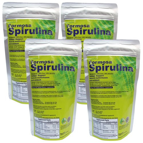 Biophyto Premium Spirulina Tablets. 4 bags (1 kg bundle) Immune Booster Bundle/ Green Superfoods/ Protein Energy, by Biophyto