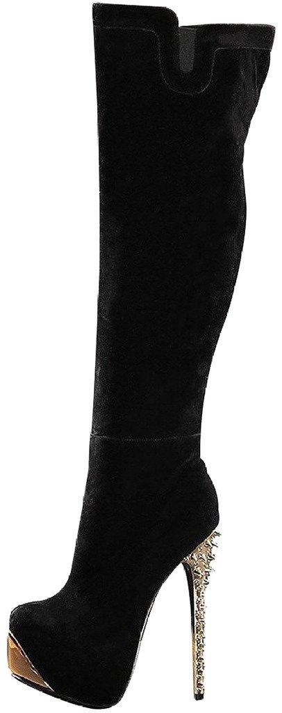 Calaier Mujer Cafast Tacón De Aguja 15CM Sintético Cremallera Botas Zapatos42.5|Negro