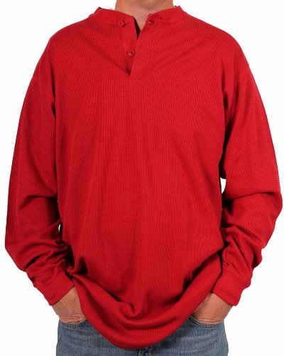 s Thermal Knit Henley, Red, Size Large Tall ()