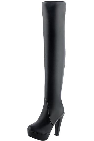 vollständige Palette von Spezifikationen riesiges Inventar angenehmes Gefühl BIGTREE Overknee Stiefel Damen High Heel PU Leder Casual ...