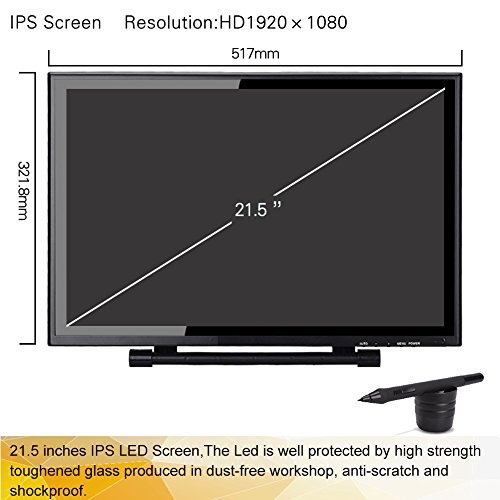 Ugee UG-2150 21.5 Inch IPS Screen Drawing Monitor with HD Resolution, 2 Original Pen, 1pc Drawing Glove and Screen Protector by Ugee (Image #1)