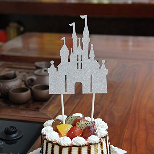 Gold Happy 1Pc Glitter Castle Cupcake Cake Topper Cake Flags Happy Birthday Decoration Christmas Home Dinner Baking Event Pary Supplies