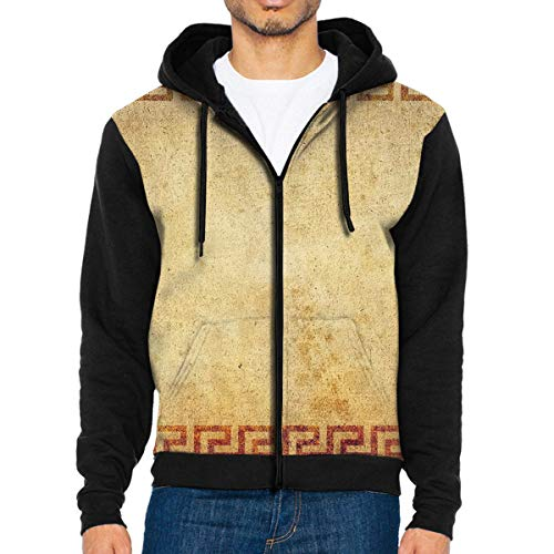Man's Casual Garb Hoodies Banner Background Full Front Zipper Hooded Men Sweatshirt Black -