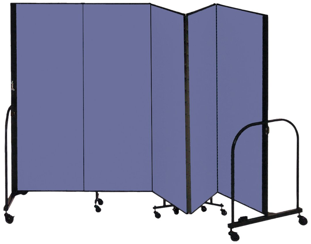 Screenflex Commercial Portable Room Divider (CFSL405-DS) 4 Feet High by 9 Feet 5 Inches Long, Designer Blue Fabric