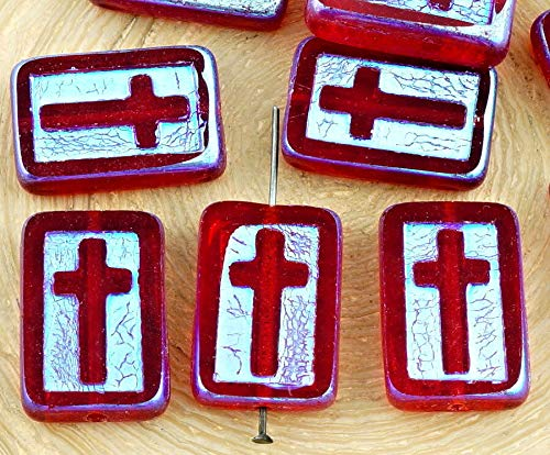 (2pcs Crystal Ruby Red Clear AB Full Rectangle Flat Window Table Cut Cross Religious Christian Rosary Crucifix Halloween Czech Glass Beads)
