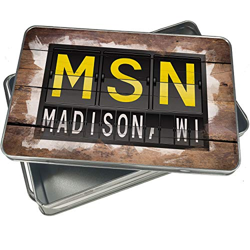 NEONBLOND Cookie Box MSN Airport Code for Madison, WI Christmas Metal Container -