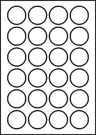 100 Bogen Etiketten weiß Ø 40 mm rund selbstklebend je 24 Aufkleber pro Blatt