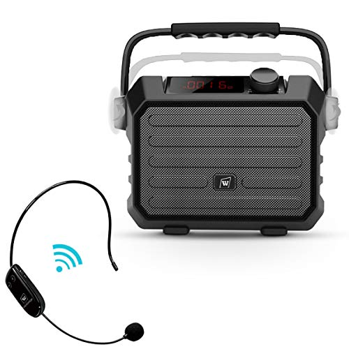 Portable Mini Bluetooth PA System with Wireless Headset Microphone 30W Personal Pa Speaker Rechargeable Voice Amplifier Supports Earphone/FM Radio/AUX-IN Mode/USB Input/TF Card (Best Value Ultraportable Laptop)