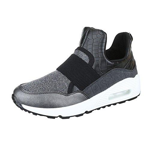 Damenschuhe Grau Schnürsenkel Y Low Silber 6095 Sneakers Sneakers Low Sneakers Ital Design Freizeitschuhe qBtSqT