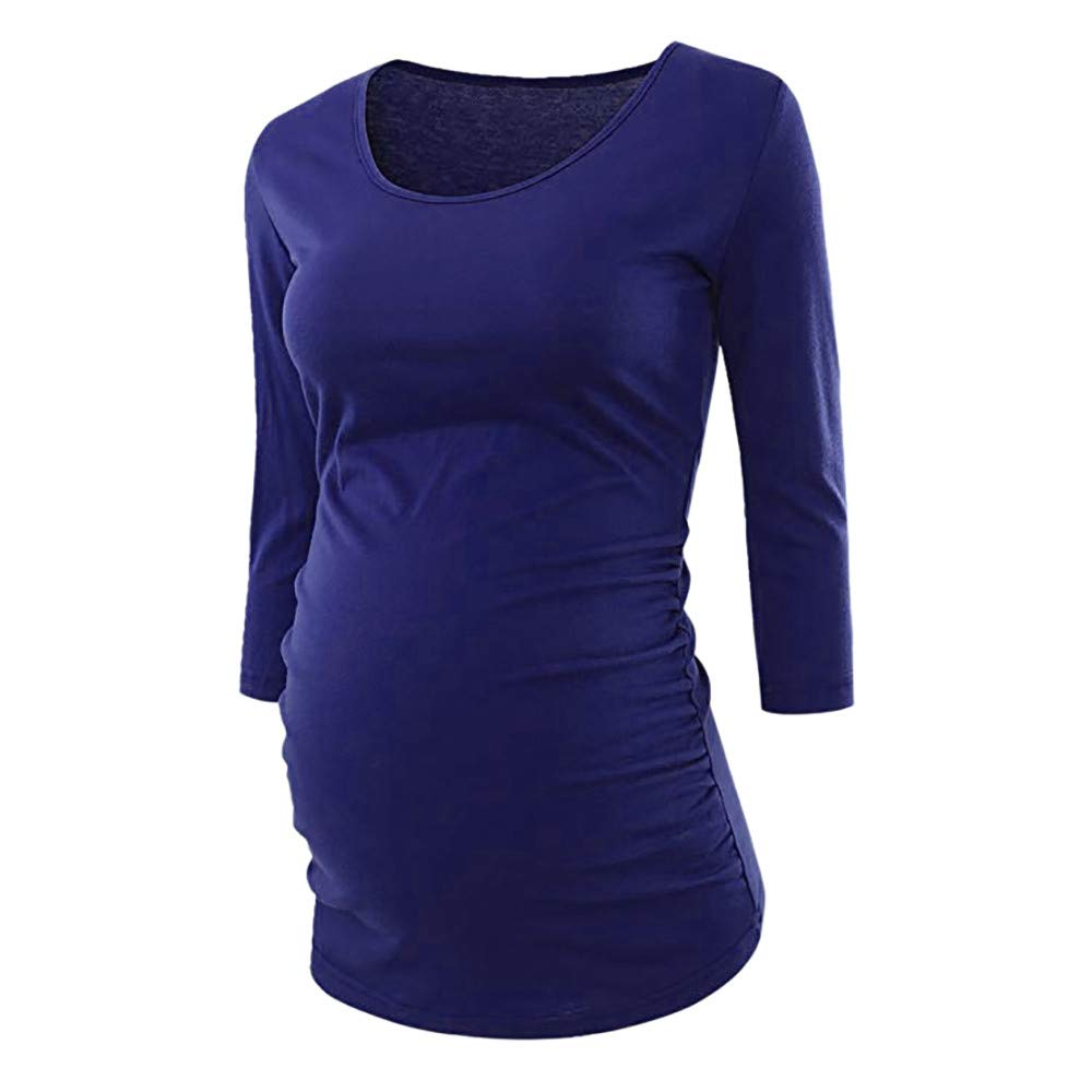 S, Bule Casual Womens Pregnancy Clothes Side Ruched 3//4 Sleeve Maternity Scoop Neck T Shirt Top