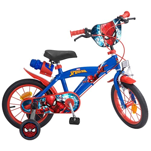 TOIMS 874 Spiderman kinderfiets Mixed Bike Toims, 3/5 jaar – 14″, blauw,3/5 jaar