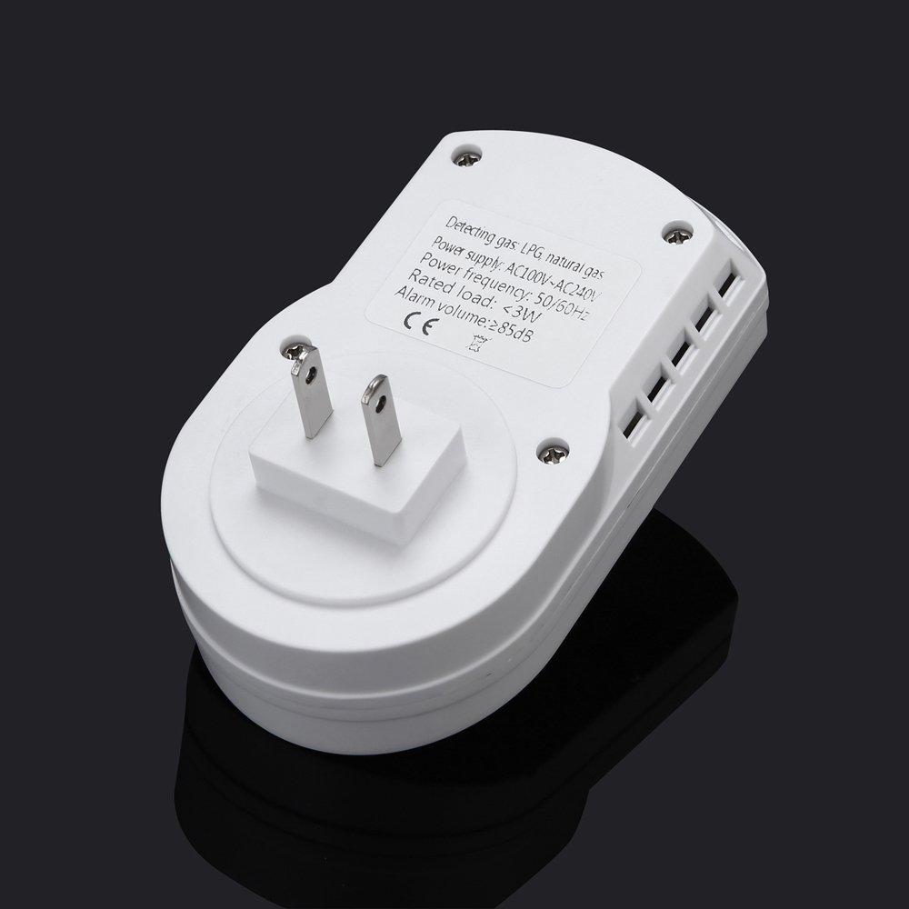 SODIAL Sensitive digital display flammable pipe alarm gas detector gas detector kitchen monitoring sensor US Plug by SODIAL (Image #5)