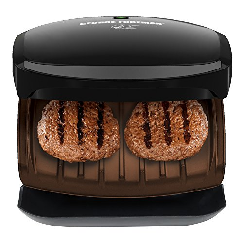 George Foreman 2-Serving Classic Plate Grill and Panini Press, Black, GR136B