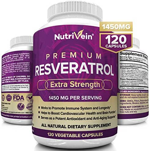 Nutrivein Resveratrol 1450mg - Anti Aging Antioxidant Supplement 120 Capsules - Promotes Immune, Cardiovascular Health and Blood Sugar Support - Made with Trans-Resveratrol, Green Tea Leaf, Acai Berry