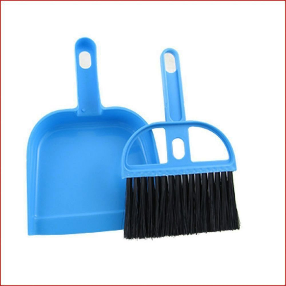 Sky Fish Car Keyboard Cleaning Brush Mini Whisk Broom Dustpan Set Desk Table Sweeping Tool For Office Home Blue