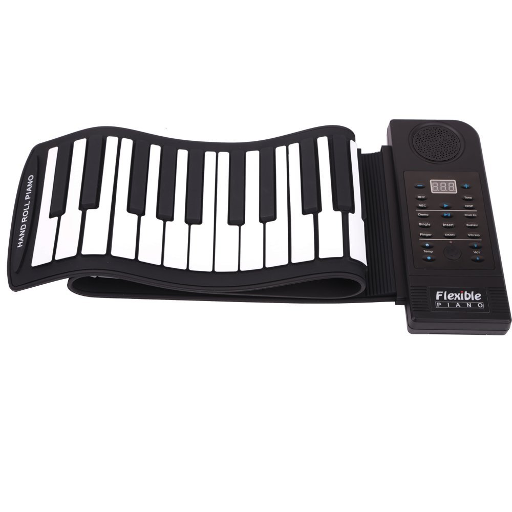 Lightahead Portable 61 Keys Roll-Up Flexible Electronic Piano Keyboard with Full Soft Responsive Keys Synthesizer Built-in Speaker lightahead®